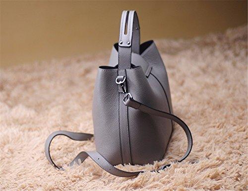 Leder echtes Leder Tasche fashion Bucket Bag Persönlichkeit Freizeit single Schulter obliquer Querschnitt Kopf Schicht Rindsleder Tasche, 25 * 14 * 22 cm Grau