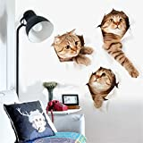 3D Wandtattoos, Kfnire Wand-Dekor Abziehbilder Dekore Wandbilder Dekore drei Katzen Wandaufkleber für Wohnzimmer-Dekoration/Kinderzimmer