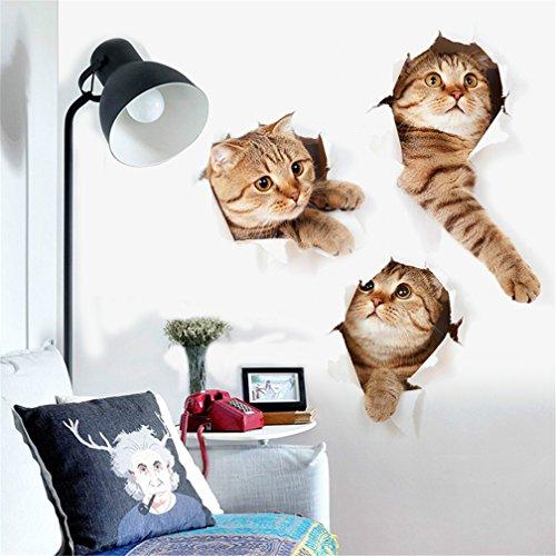 3D Wandaufkleber, Kfnire Abziehbilder Dekore drei Katzen Wandbilder für Kinderzimmer DIY Heimtextilien
