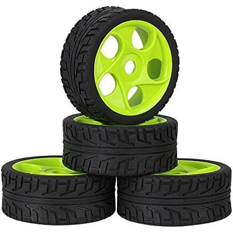 Youzone 17 millimetri Hex verde di plastica 5 fori cerchione + Nero High Grip pneumatici in gomma con la spugna per RC 1: 8 Off Road Car Buggy (confezione da 4)