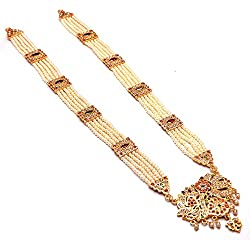Jewar Mandi Pearls Grand Moti Rani haar gold plated kundan polki multi gemstone jewelry Necklace Set 7695 For Women girls