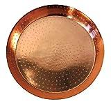 MQ Tablett Serviertablett Kupfer Rund 36 cm Hoher Rand Gemustert ~ds2 116