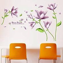 Elegant Fantasie Lila Blume Wandaufkleber Wandtattoo Fr Wohnzimmer Schlafzimmer Dekoration PVC Wandkunst