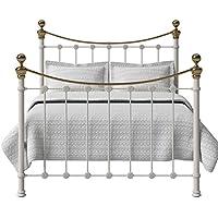 The Original Bed Co. Cama de Hierro y Latón Selkirk Marco de Cama con Listones de Madera Maciza 180 x 200 cm Marfil Brillante - Muebles de Dormitorio precios