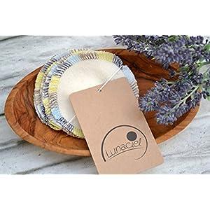 Abschminkpads aus Bio-Baumwolle, waschbar, 10 Stück, Kosmetikpads, wiederverwendbare Wattepads, Gesichtsreinigung, umweltfreundlich, nachhaltig, Zero Waste, creme, Lunaciel