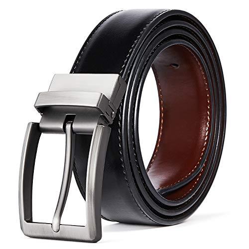 ITIEZY Ledergürtel Herren Wendegürtel Metall Schnalle Jeansgürtel 35mm breit Schwarz & Braun - Reversible Schwarz Leder