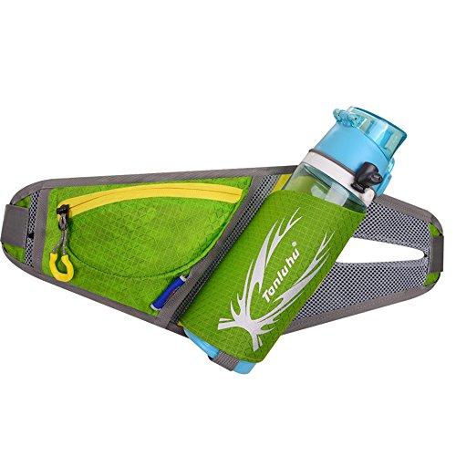 Ibssports Hüfttasche Multi-Funktion Gürteltasche Wasserabweisende Bauchtasche Flache Taille Tasche mit Flaschenhalter und Telefon Earp lüg Draht Loch zum Sport und Reisen Grün
