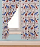 "Children's Kids Pair of 66"" Width x 72"" Drop DINOSAUR DESIGN BOYS CURTAINS With Matching Tie Backs By Viceroybedding"