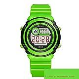 Elektronische Uhr Junge Mädchen Wasserdicht Multifunktions- Digitaluhr Leuchtend Wecker Schulkind Kinder Uhr,Green