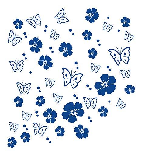 kleb-Drauf | 19 Blüten, 19 Schmetterlinge und 42 Punkte | Blau - glänzend | Autoaufkleber Autosticker Decal Aufkleber Sticker | Auto Car Motorrad Fahrrad Roller Bike | Deko Tuning Stickerbomb Styling