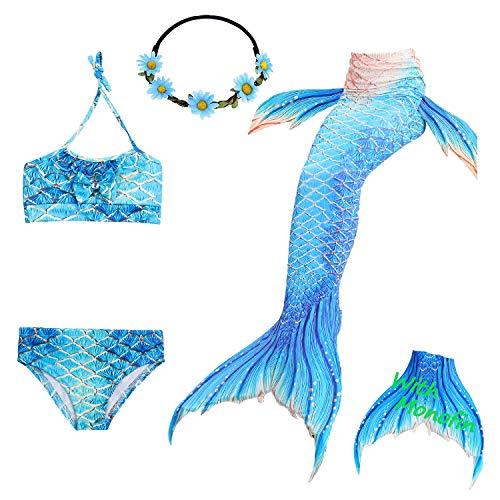 Das beste Mädchen Bikini Badeanzüge Schönere Meerjungfrauenschwanz Zum Schwimmen mit Meerjungfrau Flosse Schwimmen Kostüm Schwanzflosse - Ein Mädchentraum- Gr. 140, Farbe: A06 (Für Erwachsene Schildkröten Kostüm)