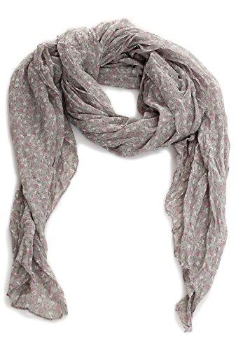malito Foulard avec Automnal Print Plaid Tartan Châle Echarpes Longue Chiffon JY003 Femme Taille Unique gris clair
