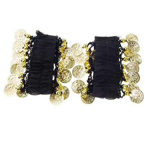 1 Paar Bauchtanz Handgelenk Armmanschette Armbänder w / 18 Goldene Münzen (Kostüme E W)