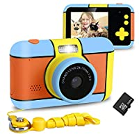 XDDIAS Kids Camera, Rechargeable Children Digital Camera with 2.4 inch LCD and 32G Memory Card 16MP 1080P HD Shockproof Digital Video Camera Toy Birthday Gift for Boys Girls Outdoor Play