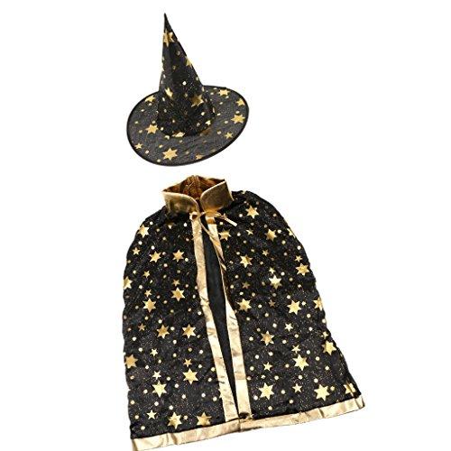 Imagen de capa cabo de bruja mágica estampación estrella de oro manto de disfraces de halloween traje para niños  negro, /