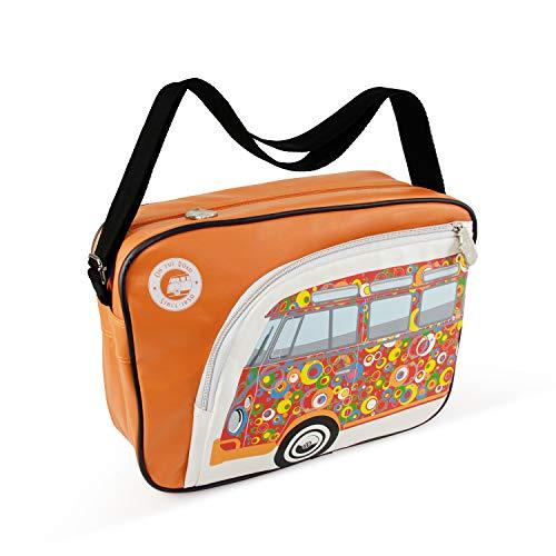 BRISA VW Collection Schultertasche Umhängetasche mit VW T1 Bulli Bus Motiv in Orange