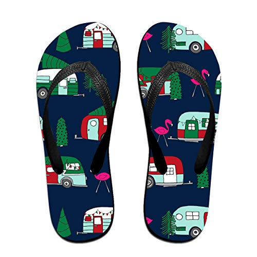 Christmas Camper Flamingo Car Tree Unisex Adults Casual Flip-Flops Sandal Pool Party Slippers Bathroom Flats Open Toed Slide Shoes Small -