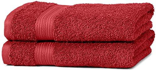 AmazonBasics Handtuch-Set, ausbleichsicher, 2 Handtücher, Rot