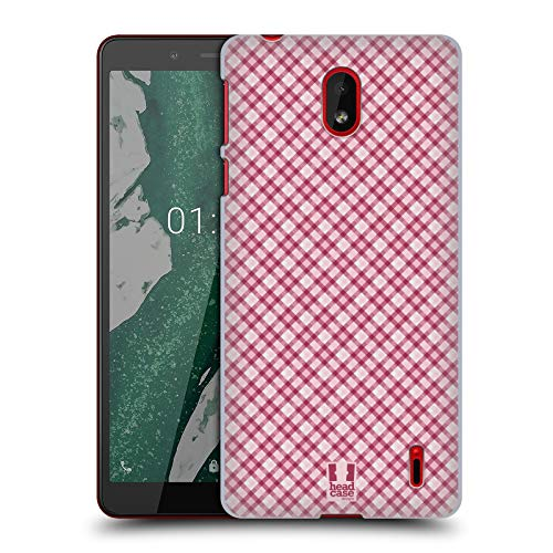 Head Case Designs Hot Pink Plaid - Muster Kollektion Harte Rueckseiten Huelle kompatibel mit Nokia 1 Plus Pink Plaid Hard Case