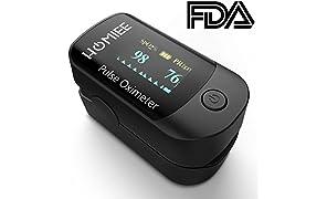 HOMIEE Pulsossimetro da Dito, Ossimetro Professionale da Dito, Lettura Immediata, Sensore di Ossigeno e Cardiofrequenzimetro, Facile da Trasportare per Uso Familiare, Approvato FDA CE