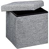 Relaxdays Faltbarer Sitzhocker 38 x 38 x 38 cm stabiler Sitzcube mit praktischer Fußablage als Sitzwürfel aus Leinen als Aufbewahrungsbox mit Stauraum und Deckel zum Abnehmen für Wohnraum, grau