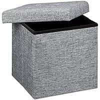 Relaxdays - Banco/baúl plegable con espacio de almacenamiento hecho de lino con medidas 38 x 38 x 38 cm asiento estable 40 L capacidad, color gris