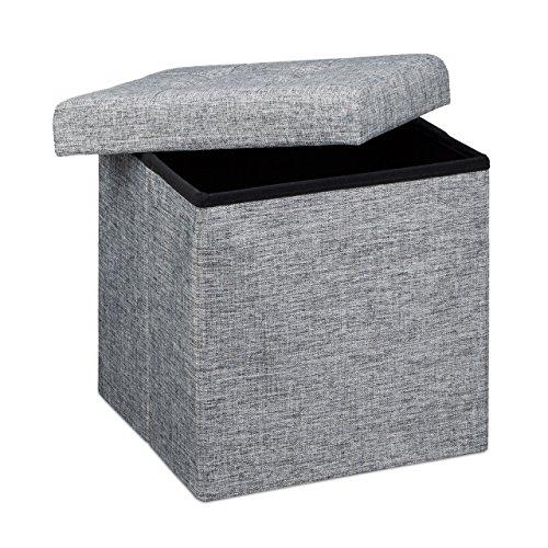 Relaxdays Faltbarer Sitzhocker, Sitzcube als Fußablage, Sitzwürfel aus Leinen, Deckel zum...