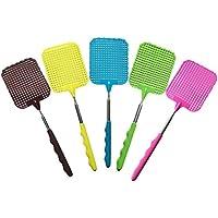 MOMEY 1PC Random Color Plástico Extensible Fly Swatters Mosquito telescópico Zapper Bug Killer Duradero con Superficie plástica Mango Largo y Antideslizante Grip (Rojo Azul Verde Negro marrón)