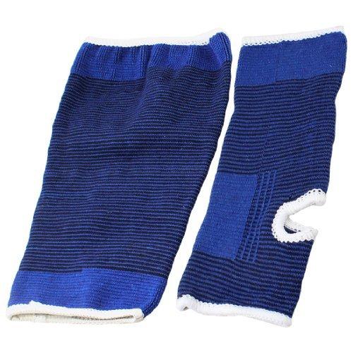DealMux Schwarz Blau-Streifen-Muster Stretchy Band Pullover Stil Knie w Knöchel Unterstützung Protector Pair - Pullover Knöchel-unterstützung