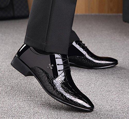 Nspx Hommes Affaires Dentelle Robe Chaussures Chaussures Oxfords Chaussures De Mariage Occasionnels / Snakeskin Modèle, 41 Noir-43