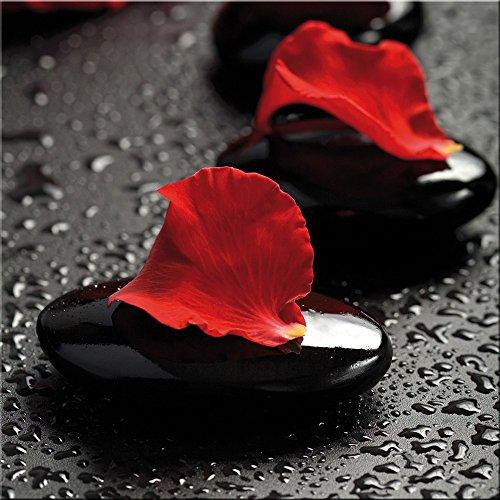 artissimo, Glasbild, 30x30cm, AG9140A, Zen rot, Steine und Blütenblätter, Bild aus Glas, moderne...