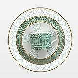 OZYOL -GREENY - Platzteller Porzellan Grün mit 12k echtem Goldrand | Kuchenteller | Servierteller | Teller | Tischservice | (Ø16)
