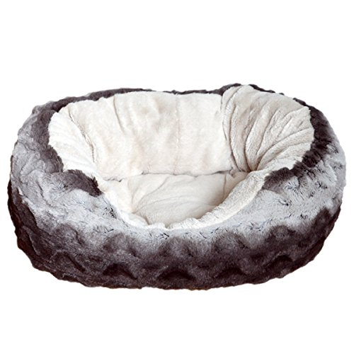 Rosewood 04377 Kuschelbett für Hunde, weich, Länge 81cm, grau/cremeweiß