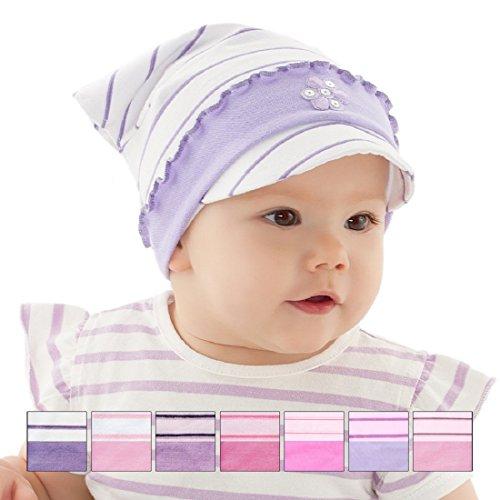 Kopftuch Dreiecktuch Stirnband Mütze Schirmmütze für Mädchen Baby Kinder Baumwolle mit Muster - Punktchen. (46 / 48 .. + ca: noch 5 cm Dehnbar., Weiß / Lila-Streifen. Nr.1)