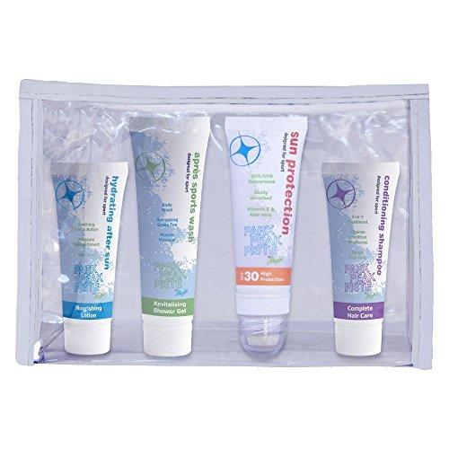 Manbi Sonnencreme, Aprés Lotion, Body Wash, Shampoo Travel Pack–geeignet für AirPort Handgepäck