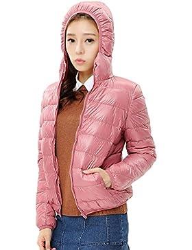 Chaqueta de Plumas Ligero Chaquetas con Capucha para Mujer Pink L