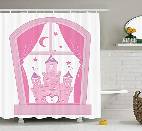 BUZRL Teen Girls Decor Collection, Princess Castle Night Sky Stars Moon Palace Royalty Love Window Cartoon Design, Polyester Fabric Bathroom Shower Curtain, 66x72 inches, Pink and White -