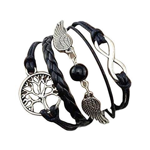 LHWY Handmade Adjustable Tree For Life Wings Multilayer Bracelet