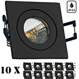 10er IP44 LED Mini Einbaustrahler Set in Anthrazit Grau mit LED MR11 / GU5.3 Strahler von LEDANDO - 2W - 160lm - warmweiss - 60° Abstrahlwinkel - 20W Ersatz - Bad / Dusche - Terrassendach - Wintergarten