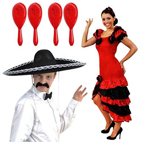 Für Paare Kostüm Dirty - ILOVEFANCYDRESS SPANISCHES Mexico MARIACI Rumba+Salsa Paare=MIT+OHNE Maracas IN 5 Farben=KOSTÜM VERKLEIDUNG=Karneval Fasching Themen =Kleid IN-MEDIUM+4 ROTE Maracas