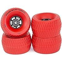 Ruedas de patinaje Slick Revolution:Juego de 4 ruedas cruiser tamaño jumbo de 110 mm con rodamientos ABEC 7, para monopatín eléctrico y para terreno difícil y agarre firme y deslizamiento más suave en el asfalto o grava, rojo