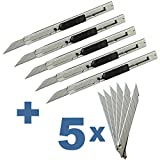 Ehdis® Light Duty 9mm Snap Off 30 Grad Klingen Slim Edelstahl Hülle abschließbar Box Cutters Graphic Messer mit Blade Snapper Hinzugefügt 10 Blades, 5 Set