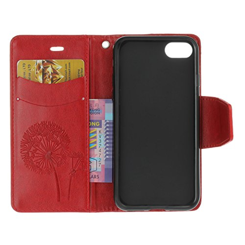 iPhone 7 Hülle, iPhone 7 Case - Felfy Bookstyle Ledertasche Luxus Premium Flip Folio PU Leder Taschen-Art Kreative übersichtliches Design Geprägte Fliegen Löwenzahn mit Strass Glitter Bling Fall Schut Löwenzahn Rote