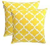 TreeWool Dekorativer Kissenbezug (55 x 55 cm, Gelb) Trellis Design 100% Baumwolle (2er Pack)