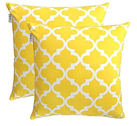 TreeWool, (Pack of 2) Cotton Canvas Trellis Accent Decorative Cushion Covers (55 x 55 cm, Yellow)