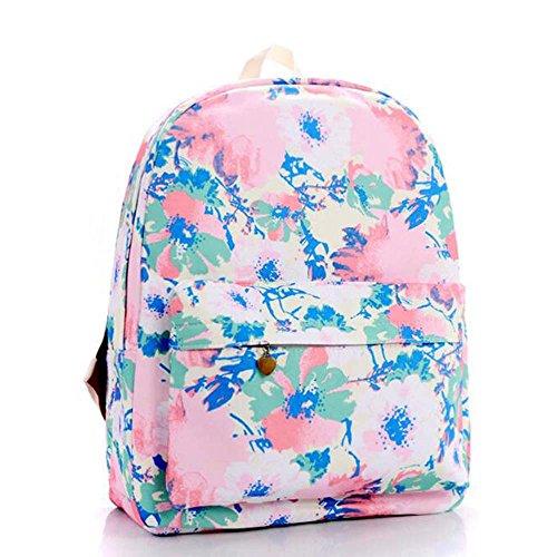 Stampa Zaino Floreale Zaino Canvas Zaino Coolpack Daypack Scuola Borsa Universale Bag Daypack per Donne Ladies Girls Bei fiori rosa