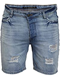 Brave Soul Mens Ripped Denim Shorts Gregor Faded Jeans Pants Knee Length Summer
