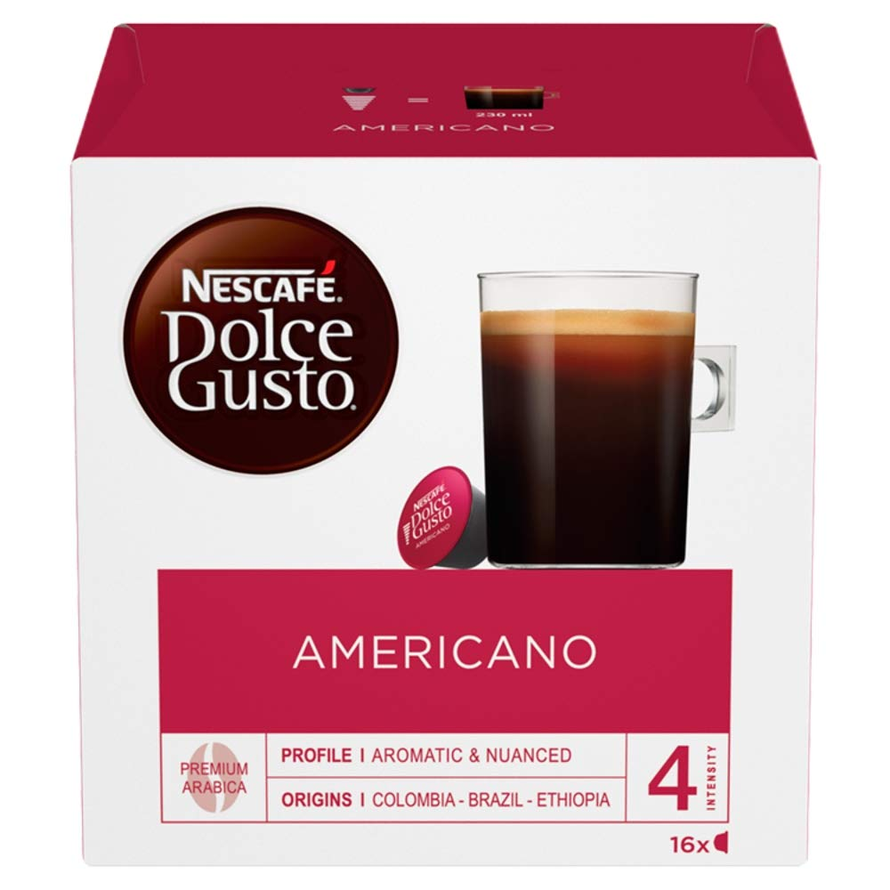 Nescafé Dolce Gusto Americano coffee pods and capsules (a floral notes, fruit notes, lychee, rose coffee with aromas of dried fruit and citrus fruit, fresh fruit and petals)