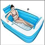 BBG Inizio imbottito Vasca Essential, Blu + Bianco Thick adulti gonfiabile del PVC Materiale vasca da bagno Tre Circle pieghevole idromassaggio e Pompa a pedale vasca da bagno, immagazzinaggio conven