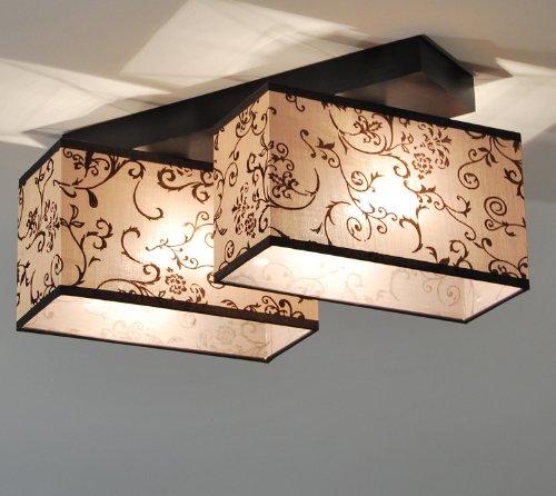 Designer Decken Leuchte Lampe Retro Deckenleuchte Restaurant Hotel E27 Power LED ROM 6 (Holzfarbe- Nuss)